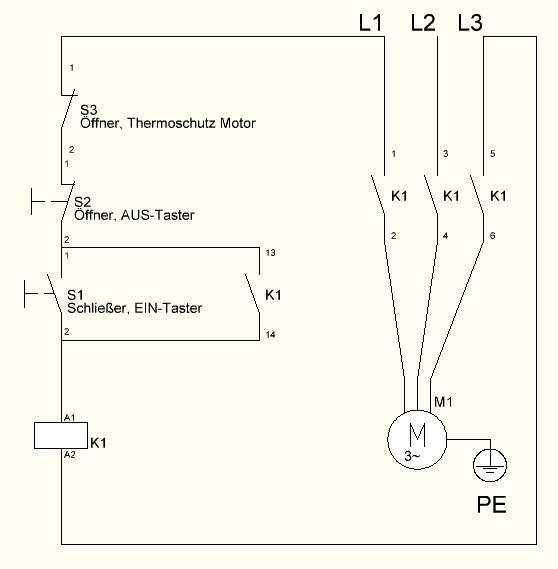 Self holding contactor circuit for 3-phase motor control | David Münch